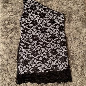 BooHoo Plus Size One Shoulder Lace Bodycon Dress